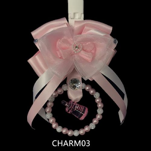 Stunning Hand Craft Pram Charm/Pink Ribbon with Bottle